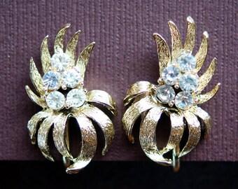 Coro Earrings, Vintage Coro Textured Gold Tone Rhinestone Floral Clip On Earrings