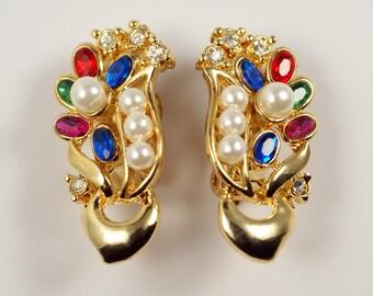 Jeweled Rhinestone Clip On Earrings, Vintage Floral Jeweled Faux Ruby Sapphire Pearl Rhinestone Gold Tone Clip On Earrings
