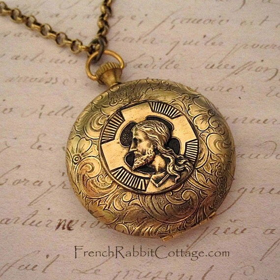 Jesus and cross locket necklace christian religious jewelry like this item aloadofball Gallery