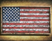 American Flag, Framed version,  Weathered Wood, One of a kind, Wooden, vintage, distressed, red, blue, white patriotic, art, USA, home decor