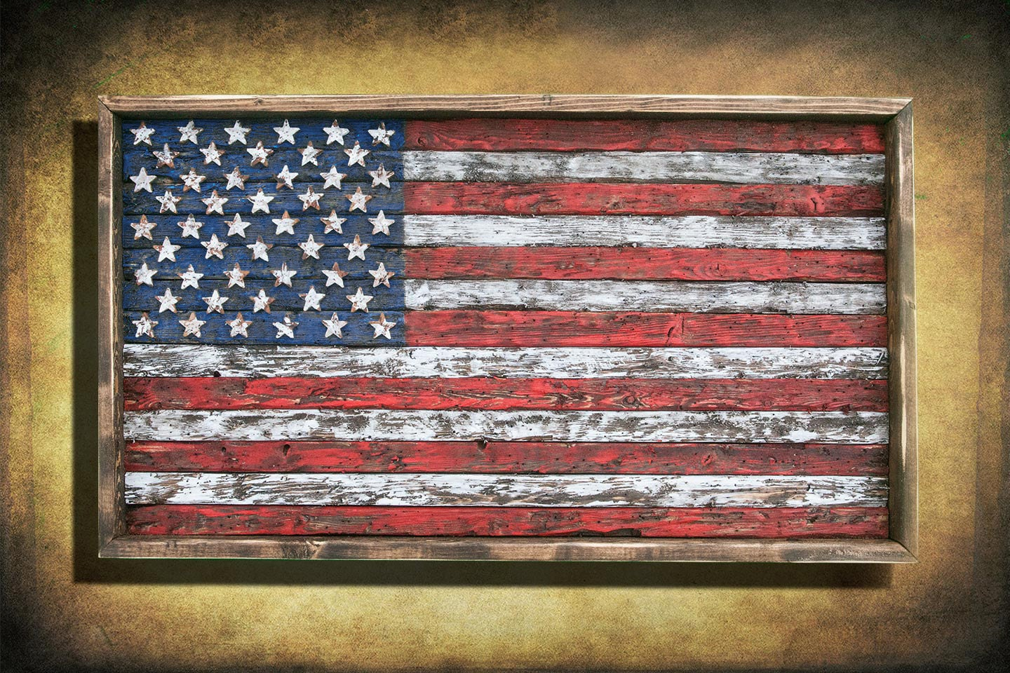 American Flag Framed Version Weathered Wood One Of A Kind