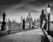 Charles Bridge Photo,  Prague Photography, Charles Bridge Morning Black and White, Large Wall Art