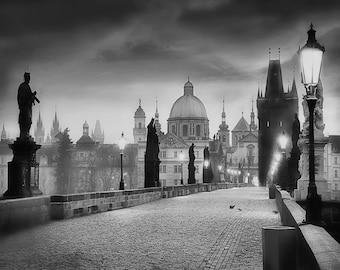 Charles Bridge Photo,  Prague Photography, Charles Bridge Morning Black and White, prague Prints, Large Wall Art