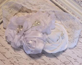 All White Flower Headband, Newborn Headband, Baptism Headband, Baby Headband, Baby Blessing Headband, Baby Christening, Photography Prop