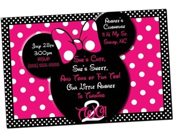 Pink Polka Dot Minnie Mouse Invitation or Thank you card