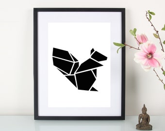 """Artprint, origami squirrel"""