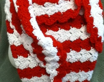 Red and White Shimmer Shawl