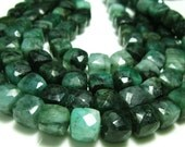 "Emerald Faceted Cube Briolette- 8""Strand- Stones measure- 8-9mm"
