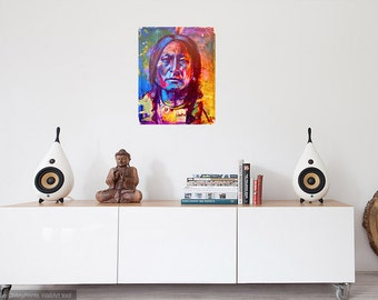 Sitting Bull Native American Portrait Giclee Canvas Artist Print Wall Art Colorful Abstract Pop Art