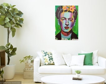 Frida Kahlo Portrait Giclee Canvas Mexican Artist Celebrity Print Wall Art Colorful Abstract Pop Art