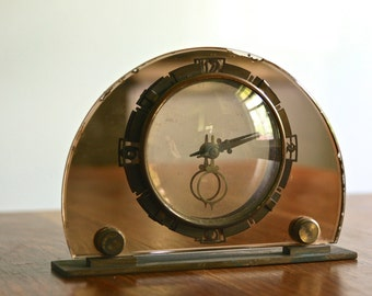 1930s Art Deco convex rose mirror face mantle clock by Smith made in England