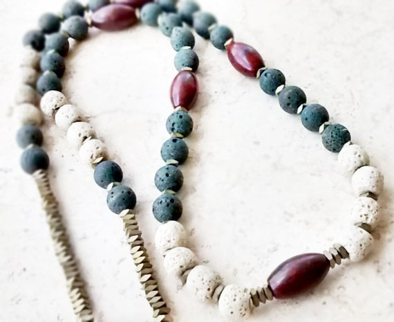 Mala - Boho Long Necklace Jasper Lava and Hematite gemstones - Women Gemstone Necklace - Tribal Necklace - Heishi Jewelry - Boho Jewelry