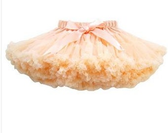 Light Peach Petti Skirt Tutu - Baby Girl First Birthday Outfit, Soft Fluffy tutu Pettiskirt Deluxe Layered Party Dress 12 24 month 2T 3T