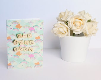 Scrabble Inspired Get Well Soon Card, Get Well Soon Card, Scrabble Inspired Greetings Card