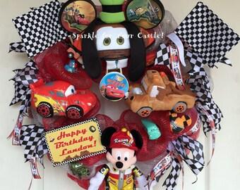 Cars Themed Wreath Disney Cars Wreath, Disney Cars Wreath, - NEW DESIGN