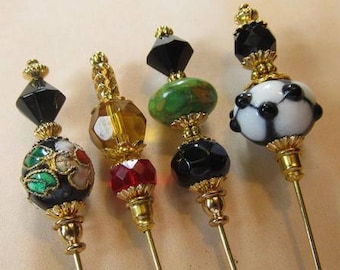 4 Diff Hatpins 3 inches long FLOWER Glass Lampwork Beads Vintage...We sell hat stick pin blanks,make your own,findings supplies...S34