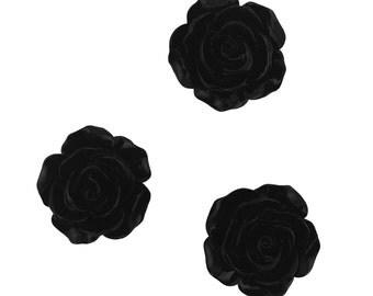 Set of 12 Black Rose Blossom Resin Flower Flat Back Kawaii Cabochon Decoden PF5