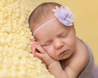 FREE SHIPPING! Lavender Chiffon Flower Headband, Lavender Newborn Headband, Lavender Baby Girl Headband, Photography Prop