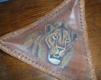 Vintage Leather Lion Handmade Stool Seat Cover
