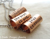 Personalized quote necklace Personalize text necklace inspirational quote graduation gift for her or him