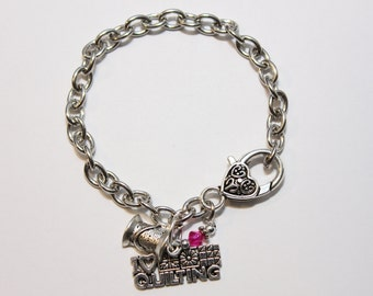 I Love Quilting -Quilters Adjustable Silver Charm Bracelet