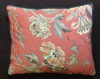Down filled decorator throw toss pillow designer fabric floral retro home decor