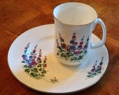 "Crown Sterling ""Windsor Delphinium"" Salad Plate and Mug"