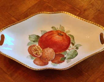 Volkstedt Beyer & Bock Handled Serving Tray, China Shallow Serving Bowl, Fruit and Nuts Pattern, Beaded Gold Trim
