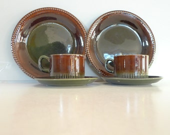Vintage Swedish Cup, saucer and plate -  Gefle Oliv Scandinavian Green Retro Set of two