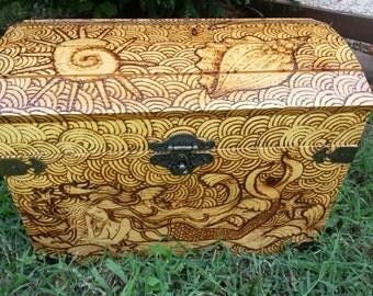 nautical chest wood burning