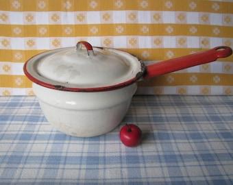 Enamel Saucepan-  Red Rim - Chippy -  Farmhouse - Enamelware - 1960's