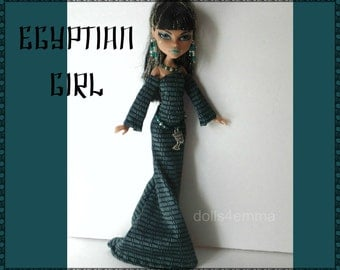 MONSTER High Egypt Doll Clothes Handmade Custom Egyptian Fashion - Gown Belt Jewelry - by dolls4emma
