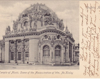 Vintage Postcard Scene of McKinley Assassination, Temple of Music postmrked 1906