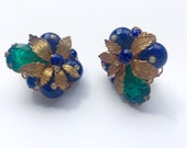 RESERVED: Vintage DeMario Green Blue Clustered Jewel + Goldtone Leaf Earrings.
