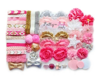 Twinkle Pink/Gold/Silver Baby Shower Headband Kit #61 - DIY Headband Kit- Baby Shower Station