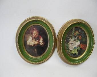 Vintage Framed Pictures, Girl with Broom Illinois Moulding Co