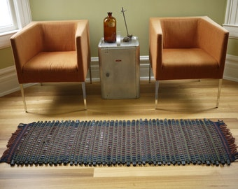 upcycled rug, wool and bike rug, recycled wool and reused bike tube carpet