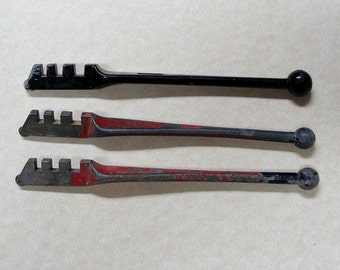 THREE Vintage Hand Tools; Two (2) Red Devil Glass Scoring Cutting Tools & One (1) Extra Unmarked Tool