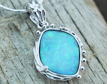 Artisan Boulder Opal Pendant in Sterling Silver, Unique Natural Australian Opal Jewelry SKU: J24A002