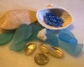 Beach Combing Blue Sea Glass, ocean glass and Seashells,coral,abalones,beads,clam shells,Destash