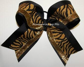Bulk Cheer Bow, Sparkly Black Gold Dance Bow, Missouri Mizzou Tigers, Football Cheerleader Bow, School Volleyball Softball Team Colors Bulk