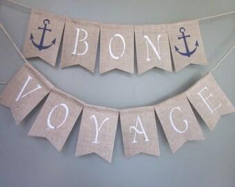 Bon Voyage Anchor Banner - Rustic Cruise Garland - Retirement Banner - Vacation Bunting - Anchor Boat Vacation Banner - Honeymoon