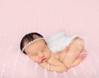 Newborn wing set, white newborn wings, baby wings, baby rhinestone headband, baby bracelet