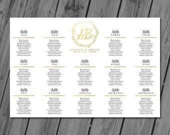 Wedding Seating Chart, Wedding Seating Sign, Seating Chart Poster, Seating Chart Printable, Seating Board, Wedding Printables - Gold Leaves
