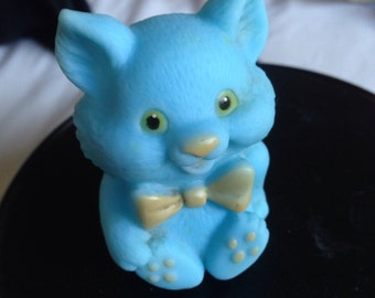 Vintage Rubber Blue Cat Baby Toy