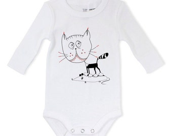 Baby cat bodysuit, kitty clothes, unisex kids clothes, kitten love, hand drawn infant
