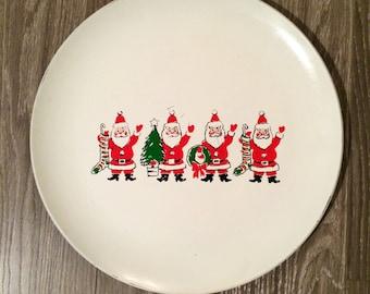 Vintage Santa Tray ,  Santa Decor , Santa Serving Tray , Christmas Decor , Resin Santa Tray