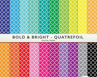 Quatrefoil Digital Paper - Bold and Bright - 20 Sheets - Scrapbooking Card Making  Personal  Commercial  G7243