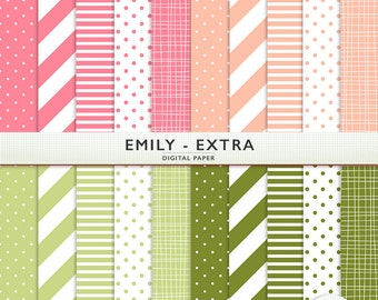 Pink and Green Digital Paper - Emily Extra - for Scrapbooking and Digital Craft - Personal and  Commercial Use  - G5081
