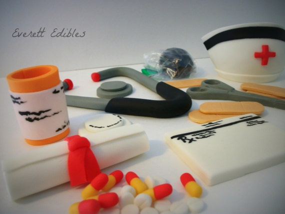 Nurse/Doctor Fondant Cake Topper 30 pc by EverettEdibles on Etsy